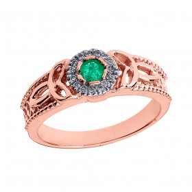 Emerald and Diamond Trinity Knot Ring in 9ct Rose Gold