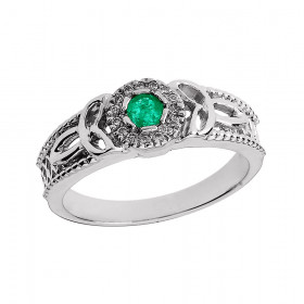 Emerald and Diamond Trinity Knot Ring in 9ct White Gold