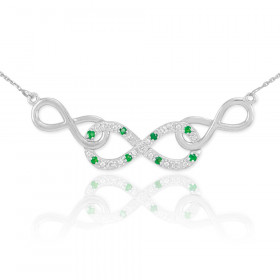 Emerald and Diamond Triple Infinity Pendant Necklace in 9ct White Gold
