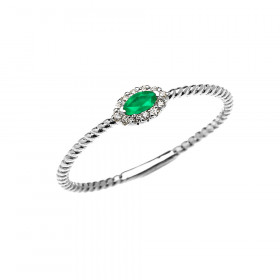 0.06ct Emerald Halo Rope Promise Twisted Rope Ring in 9ct White Gold