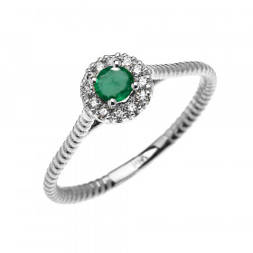 0.08ct Emerald Halo Rope Promise Twisted Rope Ring in 9ct White Gold