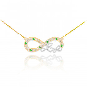 Emerald Infinity Love Script Pendant Necklace in 9ct Two-Tone Gold