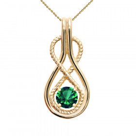 0.22ct Emerald Infinity Rope Pendant Necklace in 9ct Gold