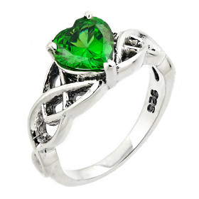Emerald Knot Ring in Sterling Silver