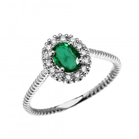 0.25ct Emerald Oval Halo Rope Promise Ring in 9ct White Gold