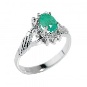 0.7ct Emerald Oval Ring in Sterling Silver