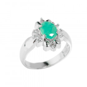 1.23ct Emerald Oval Ring in Sterling Silver