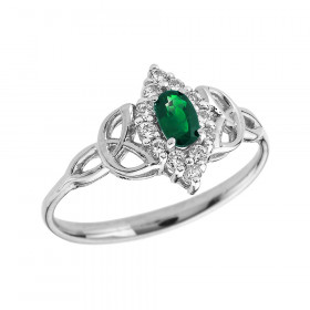 0.2ct Emerald Oval Trinity Knot Halo Ring in 9ct White Gold