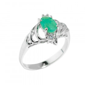 0.7ct Emerald Ring in Sterling Silver