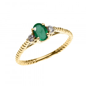 0.25ct Emerald Rope Design Promise Twisted Rope Ring in 9ct Gold