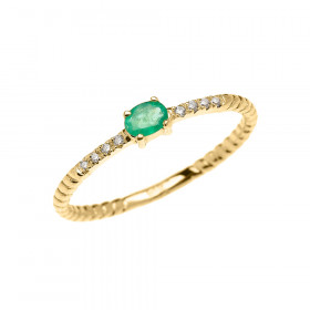 0.1ct Emerald Rope Design Promise Twisted Rope Ring in 9ct Gold