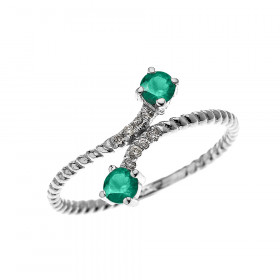 0.16ct Emerald Rope Design Promise Twisted Rope Ring in 9ct White Gold