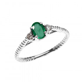 0.25ct Emerald Rope Design Promise Twisted Rope Ring in 9ct White Gold