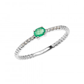 0.1ct Emerald Rope Design Promise Twisted Rope Ring in 9ct White Gold
