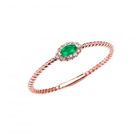 0.06ct Emerald Stackable Halo Rope Promise Twisted Rope Ring in 9ct Rose Gold