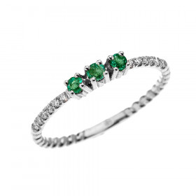 0.12ct Emerald Stackable Three Stone Rope Design Ring in 9ct White Gold
