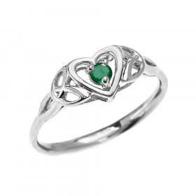 0.08ct Emerald Trinity Knot Heart Ring in 9ct White Gold