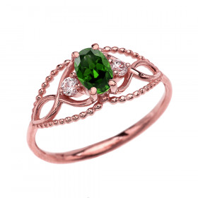 0.25ct Emerald and White Topaz Elegant Beaded Ring in 9ct Rose Gold