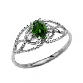0.25ct Emerald and White Topaz Elegant Beaded Ring in 9ct White Gold