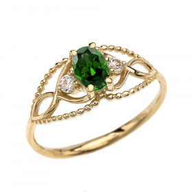 0.25ct Emerald and White Topaz Elegant Beaded Twisted Rope Ring in 9ct Gold