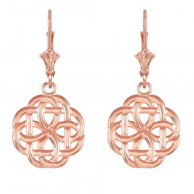 Eternity Trinity Knot Earrings in 9ct Rose Gold