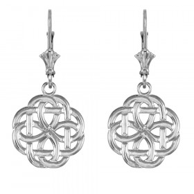 Eternity Trinity Knot Earrings in 9ct White Gold