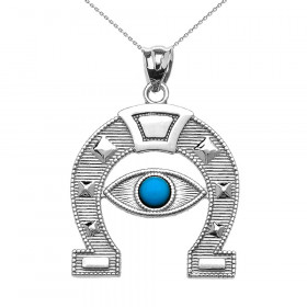0.08ct Evil Eye Protection Horseshoe Pendant Necklace in 9ct White Gold