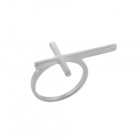 Extended Sideways Cross Ring in 9ct White Gold