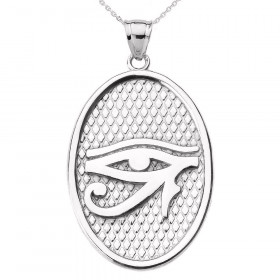 Eye of Horus Oval Charm Pendant Necklace in 9ct White Gold