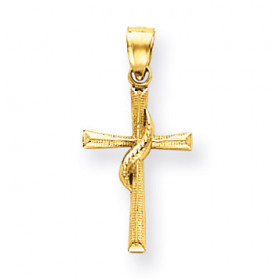 Flame of the Holy Spirt Cross Pendant Necklace in 9ct Gold