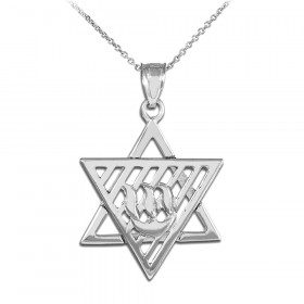 Flaming Star of David Pendant Necklace in 9ct White Gold