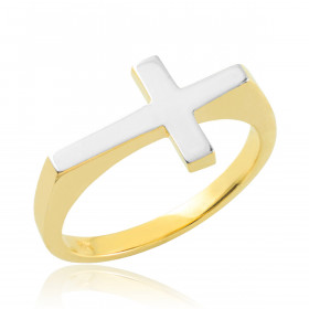 Flat Top Sideways Cross Ring in 9ct Two-Tone Gold