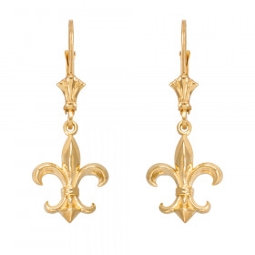 Fleur-De-Lis Drop Earrings in 9ct Gold