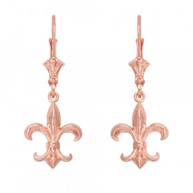 Fleur-De-Lis Drop Earrings in 9ct Rose Gold