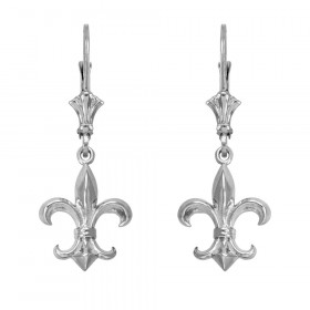 Fleur-De-Lis Drop Earrings in 9ct White Gold
