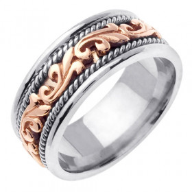 Floral Celtic Wedding Ring in 9ct White Gold