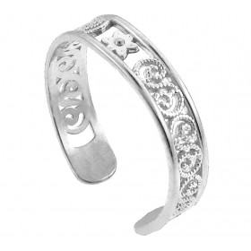 Floral Toe Ring in 9ct White Gold