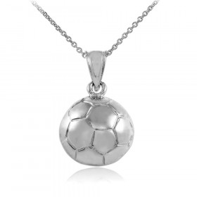 Football Charm Pendant Necklace in 9ct White Gold