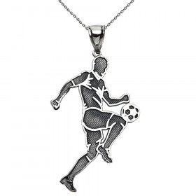 Footballer Pendant Necklace in Sterling Silver