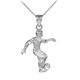 Footballer Pendant Necklace in 9ct White Gold
