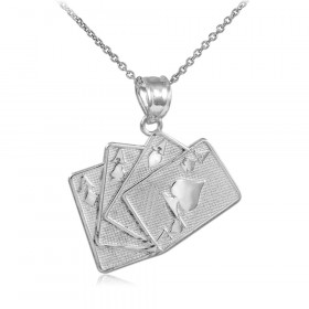 Four of A Kind Playing Card Charm Pendant Necklace in Sterling Silver
