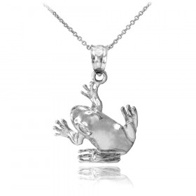 Frog Pendant Necklace in 9ct White Gold