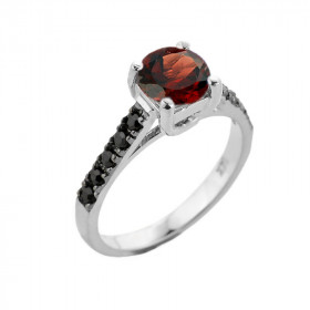 1.0ct Garnet and Black Diamond Engagement Ring in 9ct White Gold