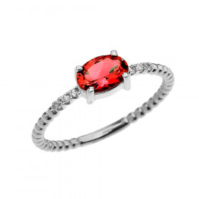 0.6ct Garnet and Diamond Beaded Band Engagement Ring in 9ct White Gold