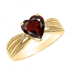 1.0ct Garnet and Diamond Beauty Engagement Ring in 9ct Gold