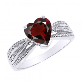1.0ct Garnet and Diamond Beauty Engagement Ring in 9ct White Gold