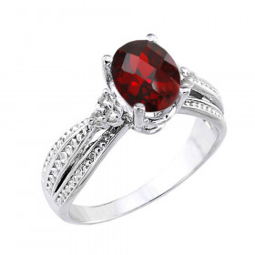 1.12ct Garnet and Diamond Chequerboard Engagement Ring in 9ct White Gold