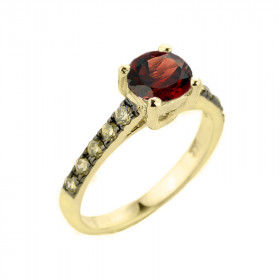 1.0ct Garnet and Diamond Engagement Ring in 9ct Gold