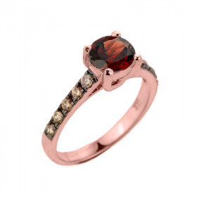 1.0ct Garnet and Diamond Engagement Ring in 9ct Rose Gold