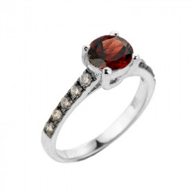1.0ct Garnet and Diamond Engagement Ring in 9ct White Gold